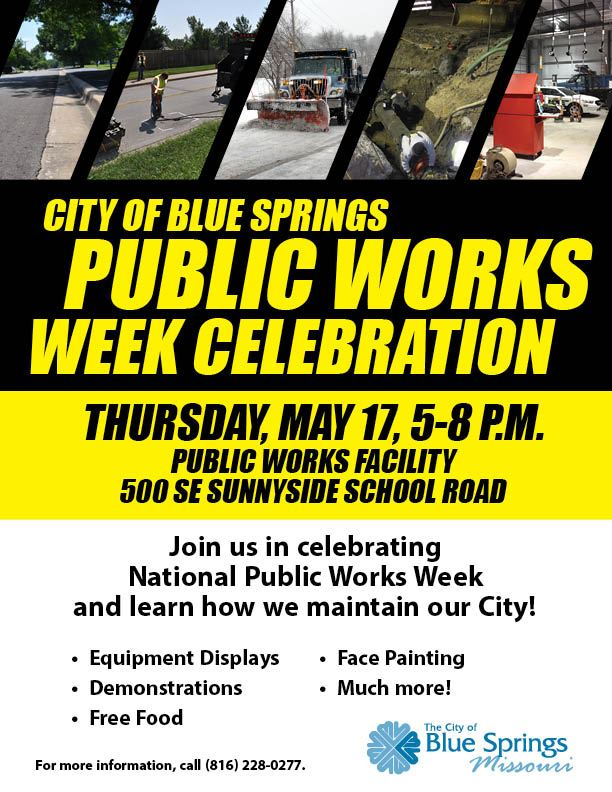 Join us for the 2018 Public Works Week. May 17, 2018 from 5-8 p.m. at the Public Works Facility. 500