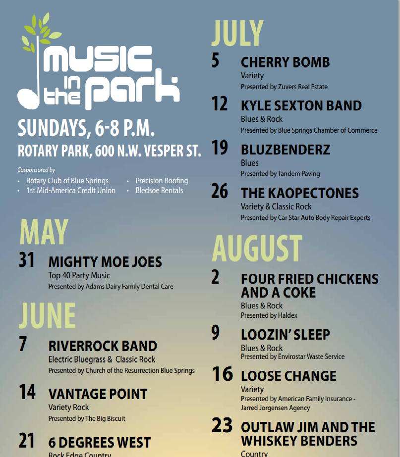2015 Summer concerts in the park
