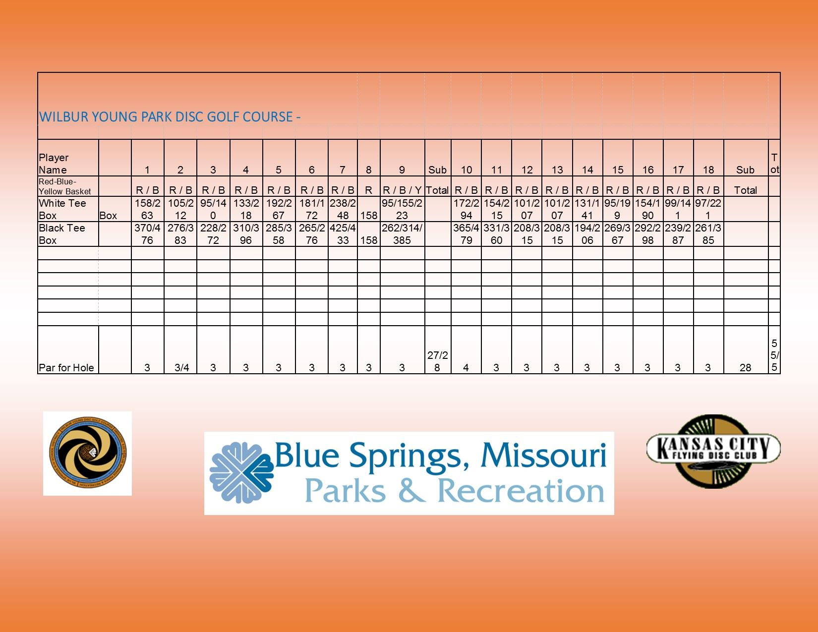 Disc Gold Score Card